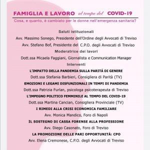 Famiglia e lavoro al tempo del Covid 19. Evento dell'11 dicembre 2020.