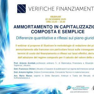 Ammortamento in capitalizzazione composta e semplice. Differenze quantitative e riflessi sul piano giuridico. Webinar – 22 Dicembre 2020.