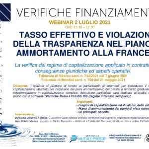 Tasso effettivo e violazione della trasparenza nel piano di ammortamento alla francese. Webinar – 02 luglo 2021.